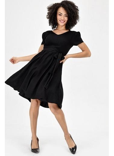 Jument Keten Elbise - Taş Siyah